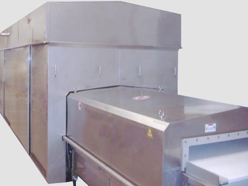 Modular microwave tunnel for homogeneous pasteurisation of packed meat products
